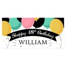 Balloons Eighteen Birthday Banner Personalized 18 Party Decoration Backdrop-A... - $22.28+