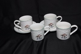 GEI Snowman Xmas 4 Cups 2 Saucers - $28.91