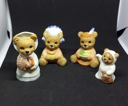 Vtg HOMCO Home Interiors  3 THANKSGIVING BEAR FIGURINES and Ghost - $17.75