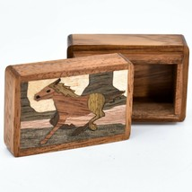Northwoods Wooden Parquetry Country Western Running Horse Mini Trinket Box