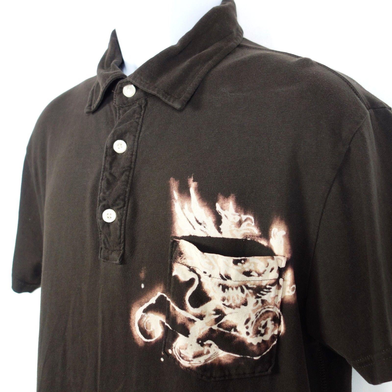 Gap Pocket Polo Shirt Men's Large Brown Cotton Bleached Design Established 1969 image 2