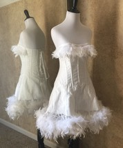 Size S-Saloon Girl Can Can White Angel Pin Up Costume Corset Dress Feath... - $124.99