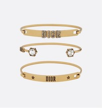 Auth Christian Dior REVOLUTION SET TRIPLE CRYSTAL AGED GOLD BRACELET CUFF BANGLE