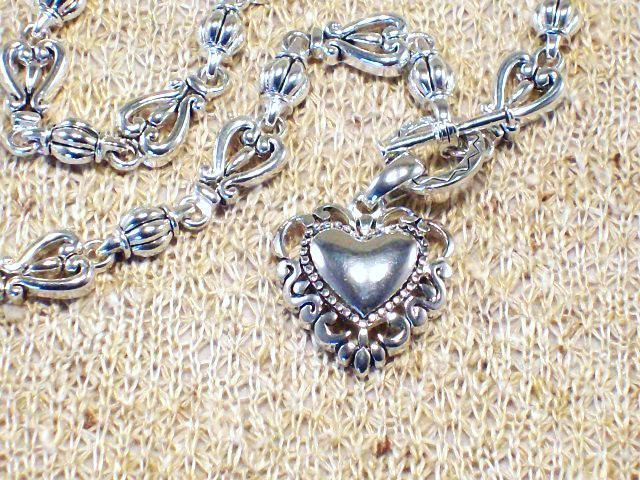 Cookie Lee Antiqued Silver Heart Necklace - Item #48017 - New!