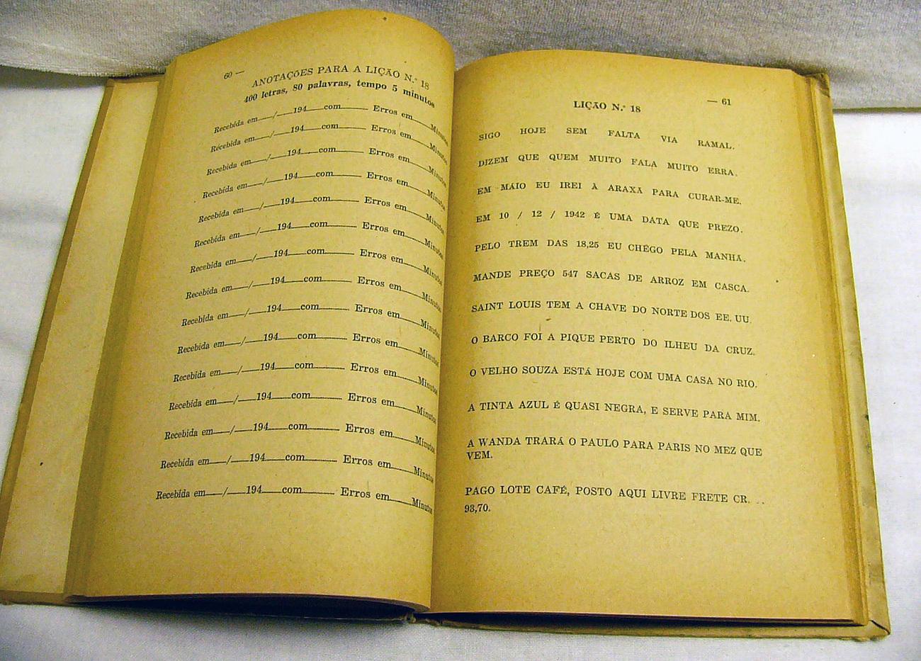1943 Brazillian Radio Telegraph Book by Castro