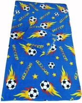 Soccer Ball Fleece 2-yard Fabric - Blue - $23.99