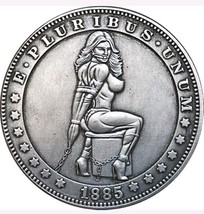 Hobo Nickel 1885 USA Morgan Dollar Bondage Kinky Girl Tied Up COIN Wonde... - $11.99
