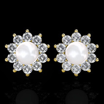 14k Yellow Gold Simulated Diamond Freshwater Pearl 8mm Halo Flower Stud ... - $126.70
