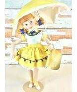 Vintage Franklin Heirloom Dolls Morton Salt Girl Bisque Porcelain Hand P... - $24.74