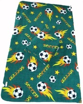 Soccer Ball Fleece Blanket w/ Tag 60x70 - Green - $22.99
