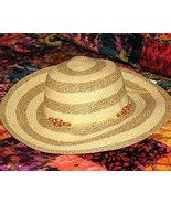 "Ladies Wide Brimmed (3 1/2"") Crushable Natural Striped Straw Hat - $15.95"