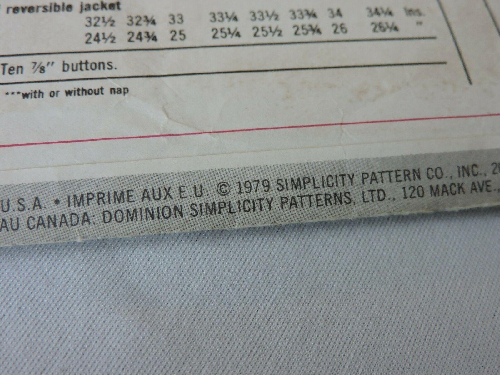 Simplicity Sewing Pattern 9112 Uncut Jiffy Reversible Jacket 1979 Vintage 18 20  image 5