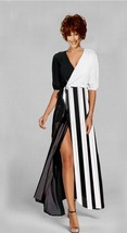 Women's Wrap Maxi Dress Black And White Wide Stripe XS-Xl - $145.00
