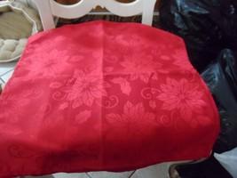 "Set of 6 shiny Red poinsettia dinner napkins 17.5"" x 18"", 100% polyester - $13.50"