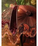 Victorian Style Portobello  Embroidered Velvet Burgundy Lamp Shade - $160.38