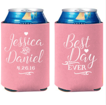Personalized Wedding Koozies Best Day Ever Wedding Favors Can Coolers - $31.68+
