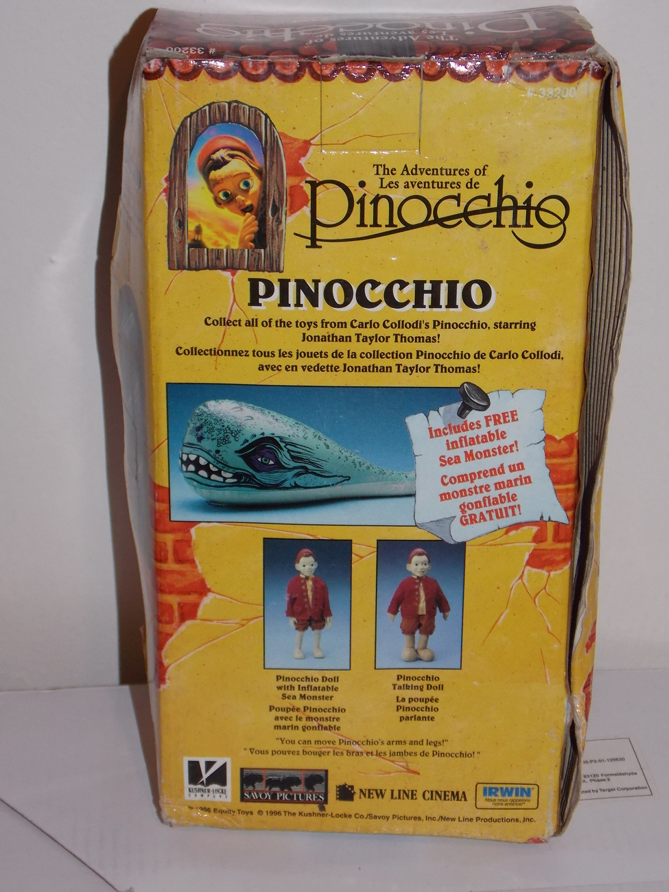 1996 Adventures Of Pinocchio Doll With Inflatable Sea Monster