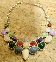 Ann Taylor Loft Statement Necklace Gold Tone With Mixed Stones - $49.99