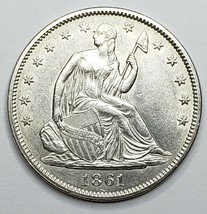 1861 Seated Liberty US silver half dollar coin Lot 519-119