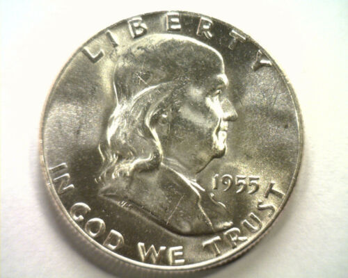 Primary image for 1955 FRANKLIN HALF DOLLAR CHOICE UNCIRCULATED / GEM WHITE CH.UNC/ GEM NICE COIN