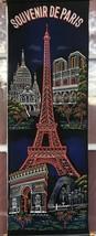 Vintage Paris France Eiffel Tower Tapestry Wall Hanging Panel Souvenir 3... - $5.90