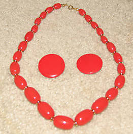 Vintage '80's Costume Jewelry Red Bead Necklace & Red Button