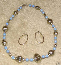 Vintage Jewelry Silvertone/Blue Bead Necklace & Earring - $7.99