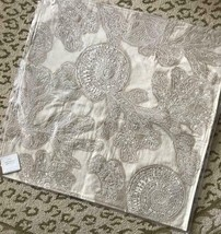 Pottery Barn Coral Sea Shell Pillow Cover Neutral 24 sq Applique Fan Coastal New - $59.50