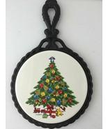 Vtg Sabin Christmas Tree Painted Ceramic Tile Wrought Cast Iron Trivet - $14.36