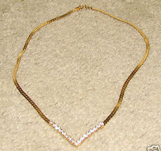 Vintage Costume Jewelry Goldtone & Rhinestone Necklace - $7.95