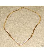 Vintage Costume Jewelry Goldtone & Rhinestone Necklace - $7.95