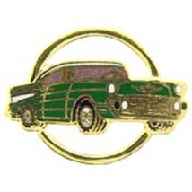 Chevy 1957 Gold Circle Green Car Emblem Pin Pinback - $7.91