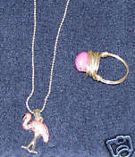 Vintage Pink Pelican on Silver Chain & Matching Ring