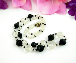 "BLACK and CLEAR Glass Beaded Necklace Vintage Round Faceted Bicone Beads 21"" - $16.99"