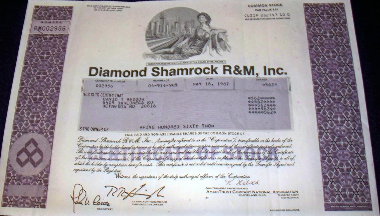 Custom Design! Diamond Shamrock Stock, 1980's