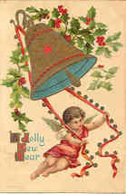 A Jolly New Year From The Cherub Vintage Post Card  - $10.00
