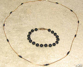 Vintage Costume Jewelry Gold/Bead Necklace & Bracelet - $6.95
