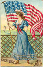 Greetings of July 4th Vintage Post Card - $8.00