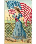 Greetings of July 4th Vintage Post Card - $8.00