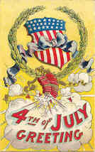 4th of July Greetings Vintage Post Card - $8.00
