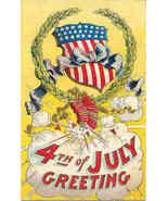4th of July Greetings Vintage Post Card - $8.00