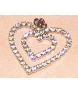 Vintage Costume Jewelry Double Heart Rhinestone Pendant - $6.95