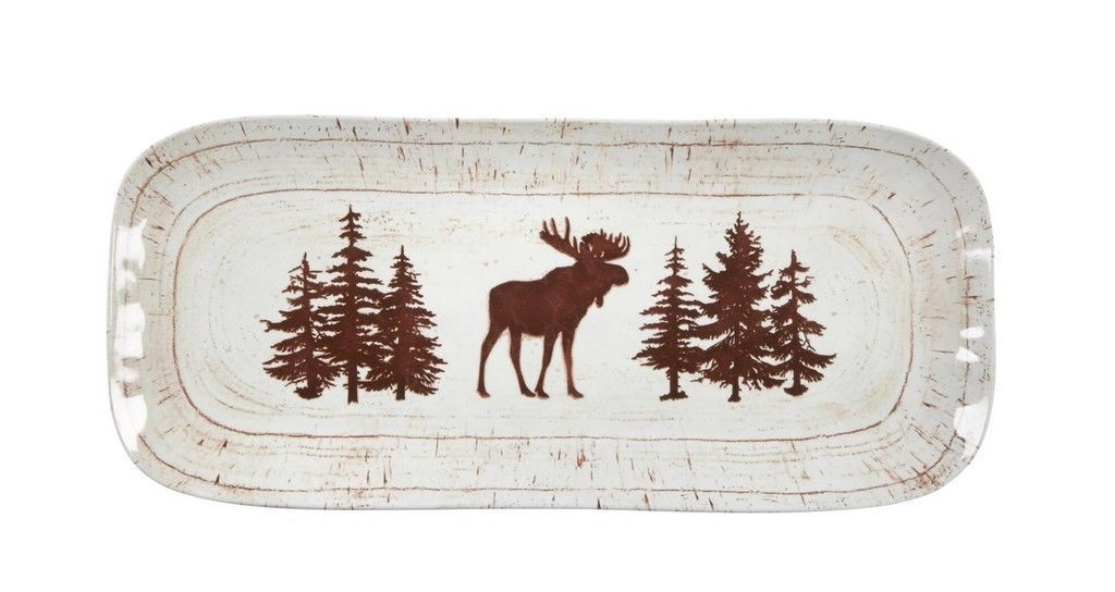"Moose Melamine Serving Platter Tray 6.75""x14.75"" Lodge Cabin Outdoor Living"