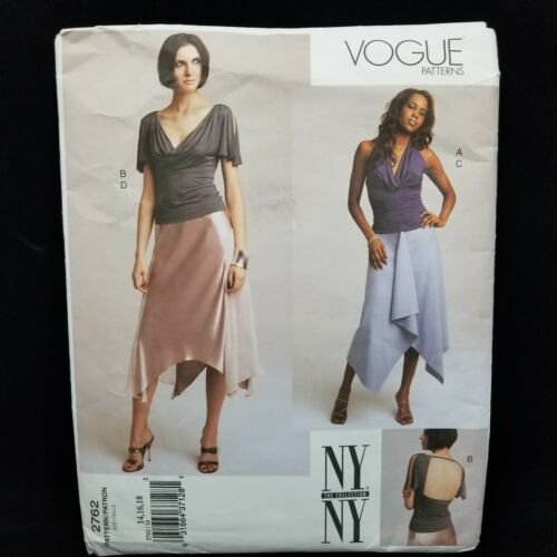 Primary image for Vogue 2762 Misses Size 14-18 Drape Front Top Asym Hem Bias Skirt Sewing Pattern
