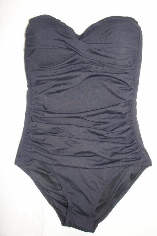 Anne Cole One Piece Sz 6 Black Solid Swimsuit Ruched Bandeau Swimwear 15MO072