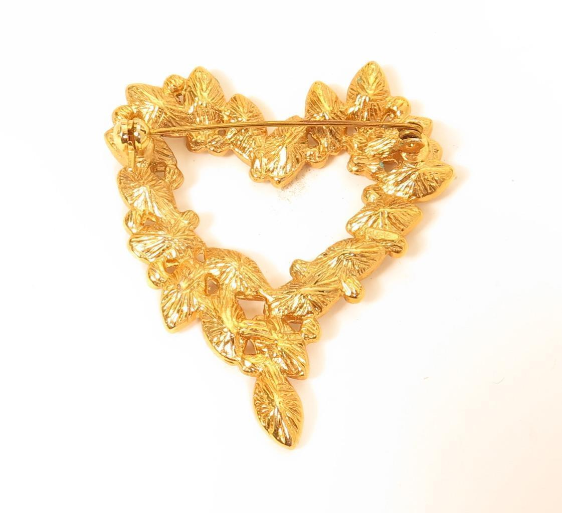 ROMAN Vintage Signed Heart Shaped Clear Marquise Rhinestone Gold Pin Brooch*F317
