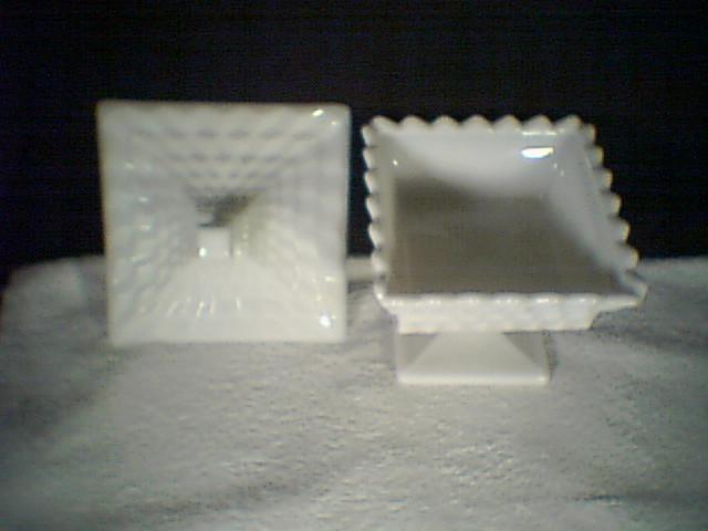 FOSTORIA AMERICAN MILK GLASS WEDDING BOWL WITH COVER