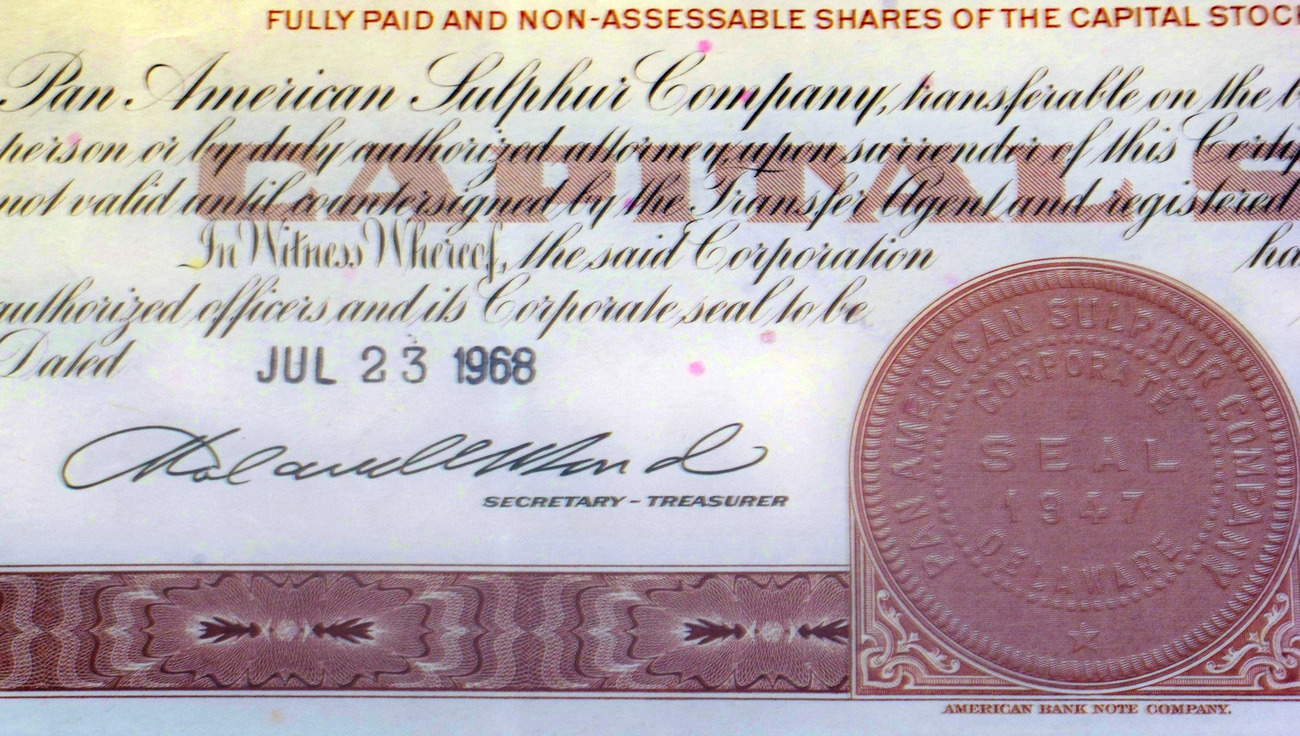 Classic! Pan American Sulphur Company Stock, 1960's