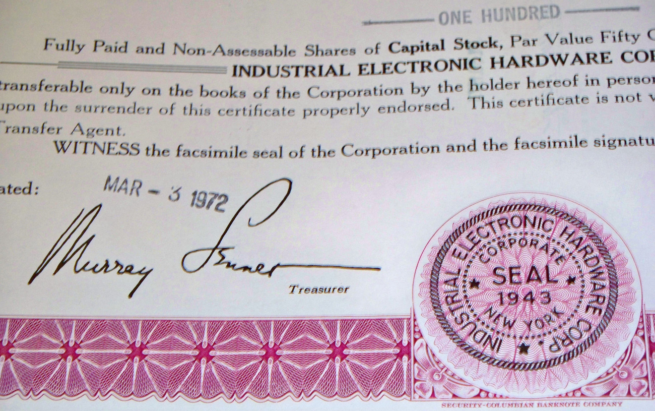 N.Y. Fortitude!, I. E. H. Corp. CAPITAL Stock, 1960's
