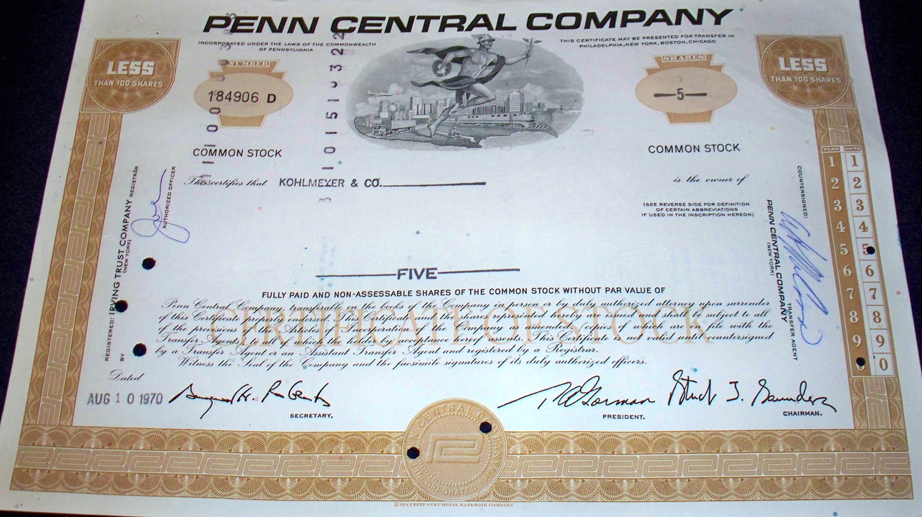 Largest Bankruptcy in History! Penn Central Stock 1960s